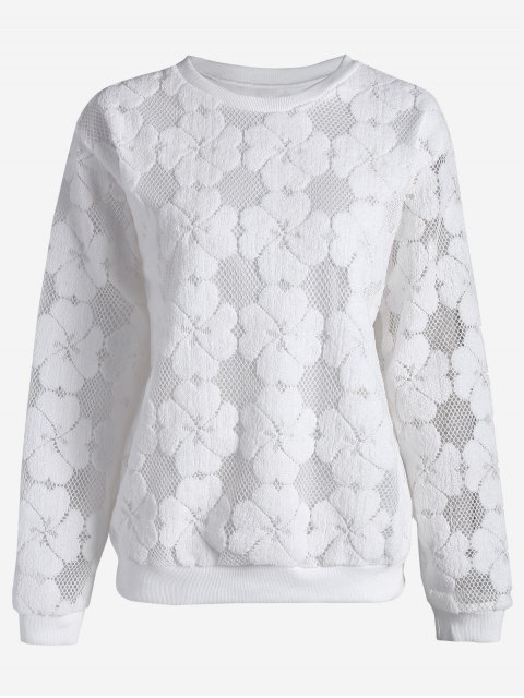 trendy Plus Size Mesh Flower Sweatshirt - WHITE 3XL Mobile
