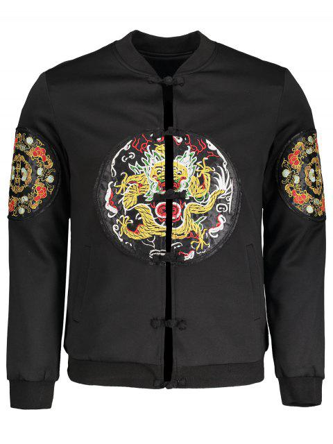 unique Embroidered Applique Bomber Jacket - BLACK 3XL Mobile