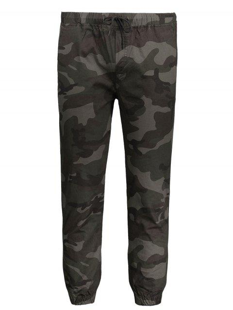 ladies Drawstring Camo Jogger Pants - ARMY GREEN XL Mobile