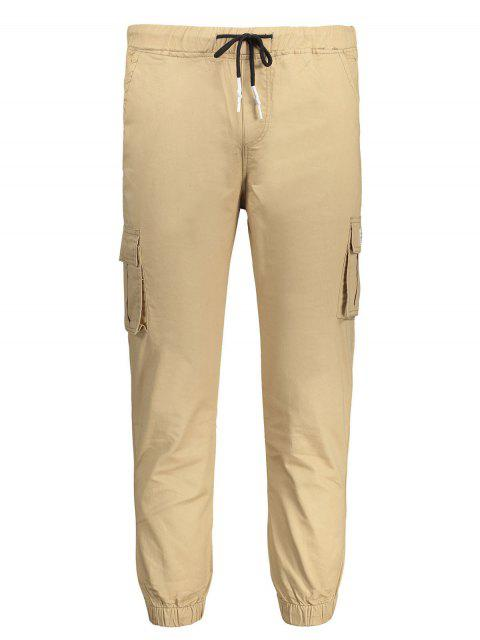 lady Contrast Drawstring Jogger Pants - KHAKI 4XL Mobile