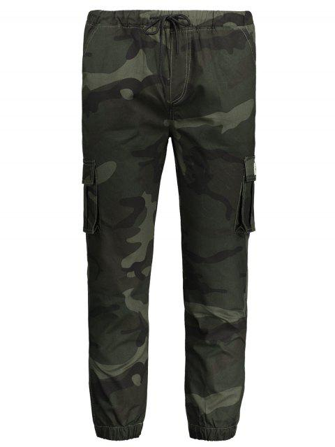 shop Drawstring Camouflage Jogger Pants - ARMY GREEN XL Mobile