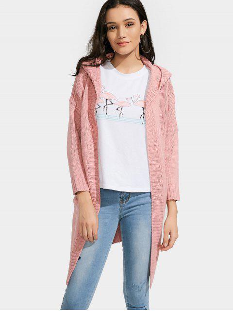 Chaqueta con capucha abierta delantera con bolsillos - Rosa Única Talla Mobile