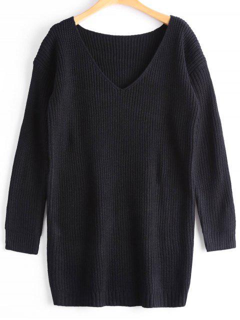 Suéter de gran tamaño con cuello en V - Negro Única Talla Mobile