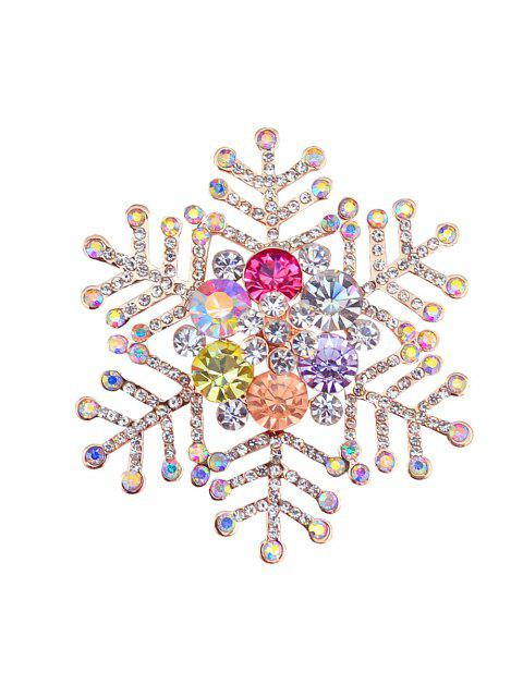 Broche en Forme de Flocon de Neige d'Hiver en Strass - Or  Mobile