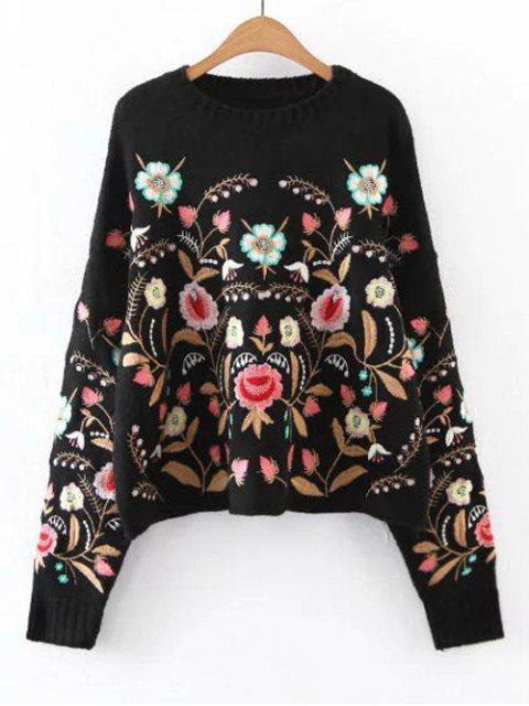 trendy Oversized Floral Embroidered Sweater - BLACK S Mobile