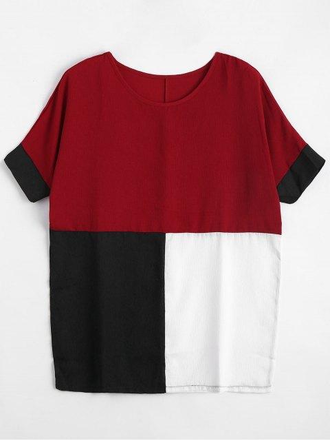 Blusa de bloque de color de mayor tamaño - Rojo XL Mobile