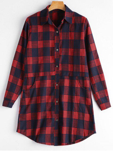 affordable Button Up Pockets Checked Longline Shirt - RED M Mobile