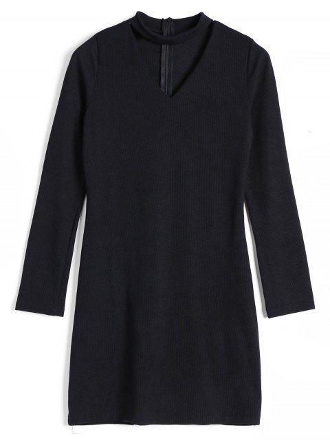 Robe Tricotée Choker Côtelée Dos Zippé - Noir M Mobile