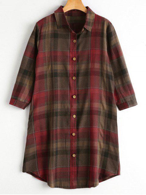Chemise boutonnée boutonnée avec poches - Rouge XL Mobile
