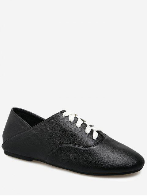 shops Slight Heel Faux Leather Sneakers - BLACK 39 Mobile