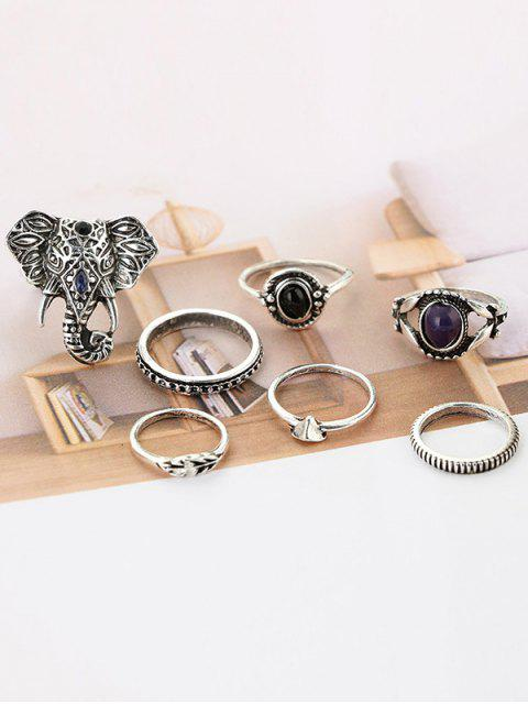 buy 7 Pieces Bohemia Elephant Eye Rings - SILVER  Mobile