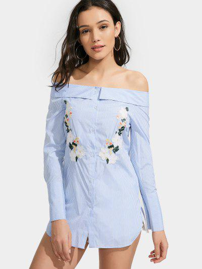 Off Shoulder Floral Stripe Shirt Dress - Light Blue M