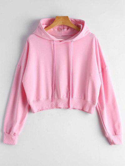 Drop Shoulder Drawstring Plain Hoodie - Pink