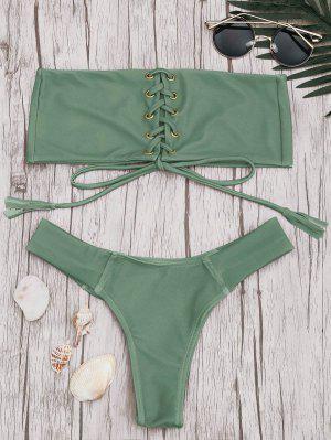 Conjunto De Bikini Con Encaje A Rayas - Guisante Verde - Guisante Verde S