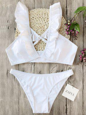 Juego De Bikinis De Pliegues - Blanco - Blanco S
