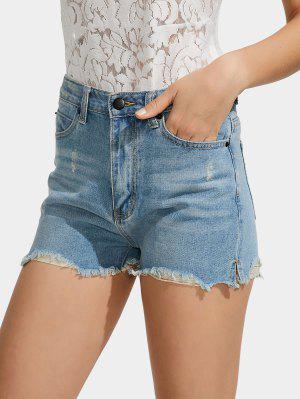 Shorts En Denim Taille Haute Taillés - Bleu Clair 29
