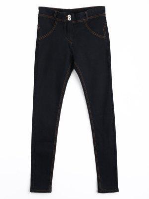 Pantalones Vaqueros Delgados Del Lápiz Del Doble Botón - Negro Xl