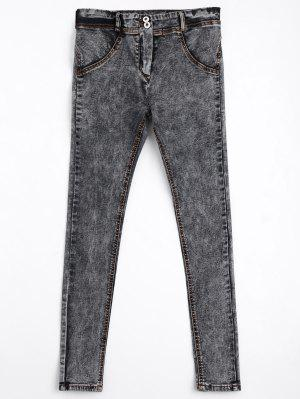 Skinny Double Buttoned Pencil Jeans - Gris - Gris M