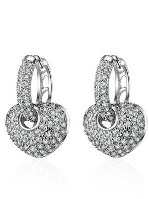 Rhinestone Heart Hoop Earrings - Prata