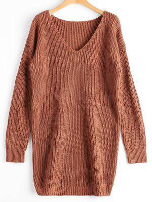Oversized V Neck Chunky Sweater - Light Coffee