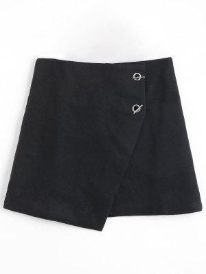 Grommet Button Plus Size Falda Asimétrica - Negro 5xl