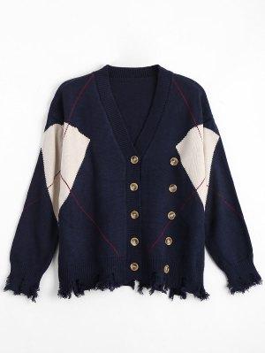 Más Tamaño Apenado Button Up Cardigan - Azul Purpúreo