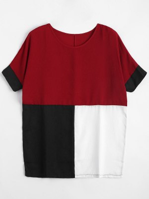 Blusa Blusa De Color Plus Size - Rojo 2xl