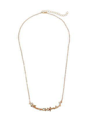 Rhinestone Nameplate Love Necklace - Golden