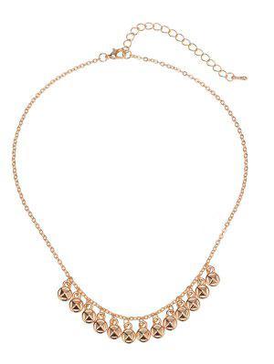 Round Alloy Lock Charm Necklace - Golden