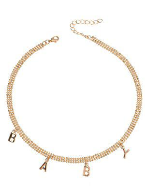 Charm Alloy Beaded Baby Necklace - Golden
