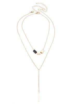 Geometric Bar Circle Pendant Necklace Set - Golden