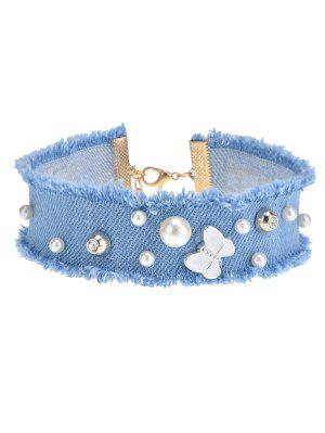 Faux Pearl Butterfly Choker Necklace - Blue