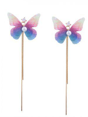Rhinestone Fringed Chain Ombre Butterfly Earrings - Golden