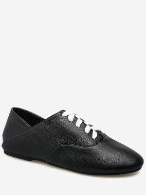 Slight Heel Faux Leather Sneakers - Black - Black 38