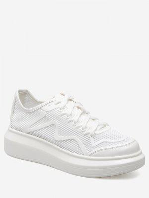 PU Leather Insert Breathable Athletic Shoes - White - White 39