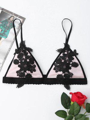Bralette De Maille Avec Applique Floral - Noir - Noir L