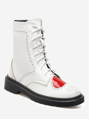 Heart Cutout Ankle Boots - White - White 38