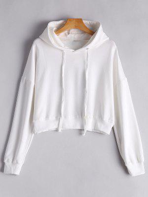 Drop Shoulder Drawstring Plain Hoodie - White