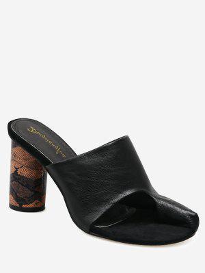 Snake Print Heel Mules Sandals - Black 37