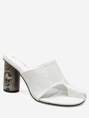 Snake Print Heel Mules Sandals - White - White 38
