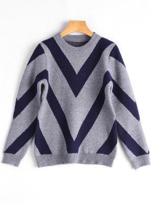 Crew Neck Contrast Graphic Sweater - Gray
