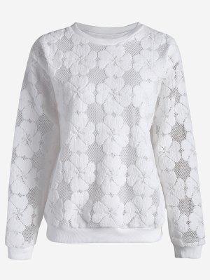 Übergröße Mesh Sweatshirt mit Blumenmuster