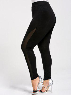Skinny Plus Größe Mesh-Panel-Leggings