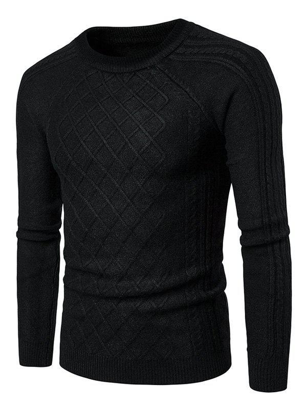 Crew Neck Raglan Sleeve Geometric Ribbed Sweater 223204913