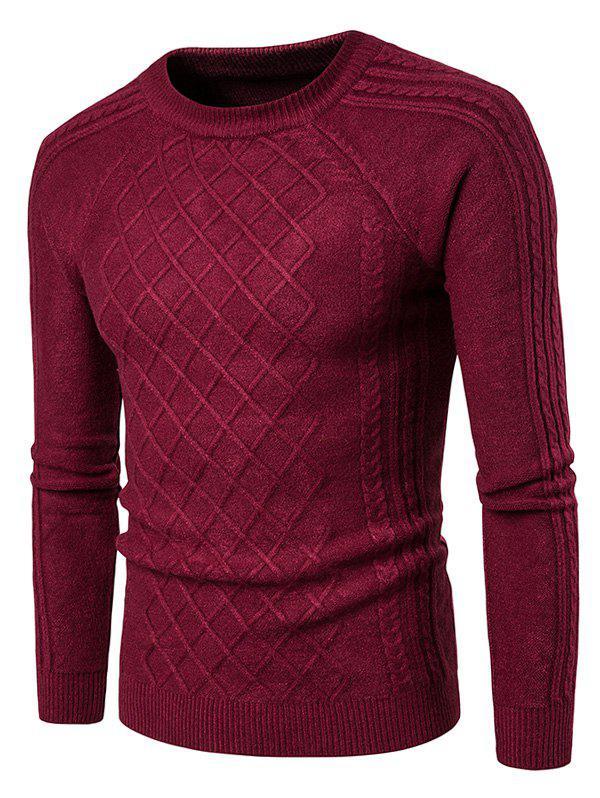 Crew Neck Raglan Sleeve Geometric Ribbed Sweater 223204912