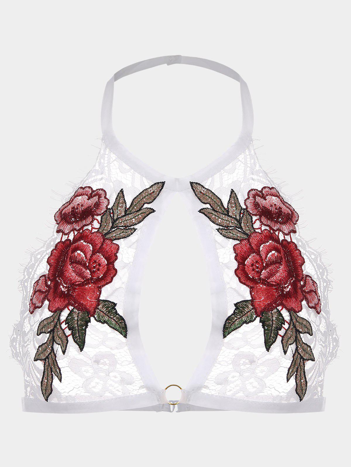Flower Applique Lace Halter Bralette 223335202