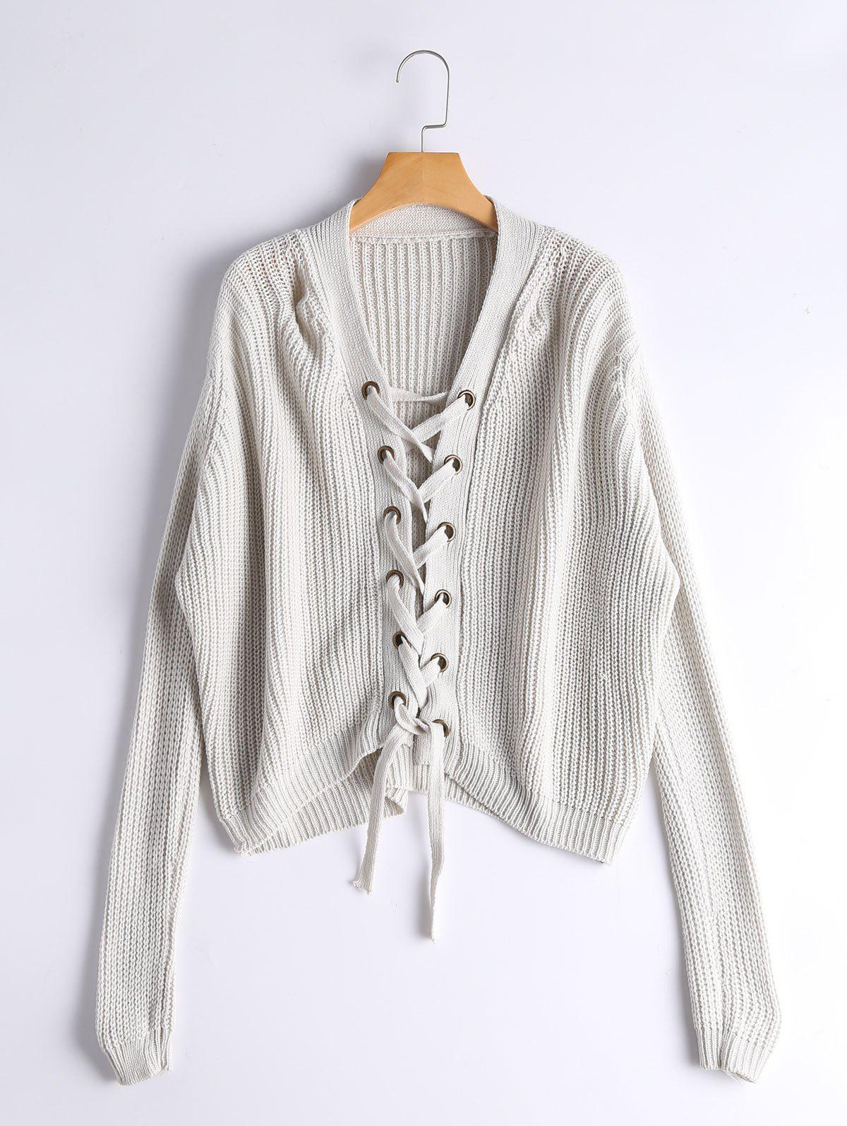 Lace Up Ribbed Chunky Sweater 222149101