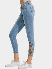 نحيل ممزقة الأزهار مطرزة جينز رصاص - ازرق M