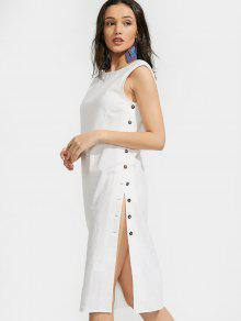 Back-u Slit Side Buttoned Midi Dress - White L