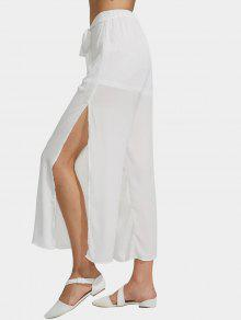 Chiffon Belted High Slit Wide Leg Pants - White S